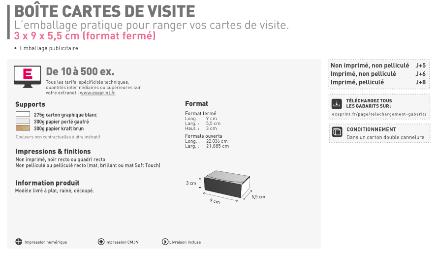Impression Packaging Et Emballage De Bote Cartes Visite