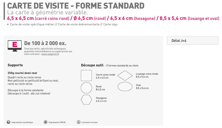 Carte De Visite Forme Standard