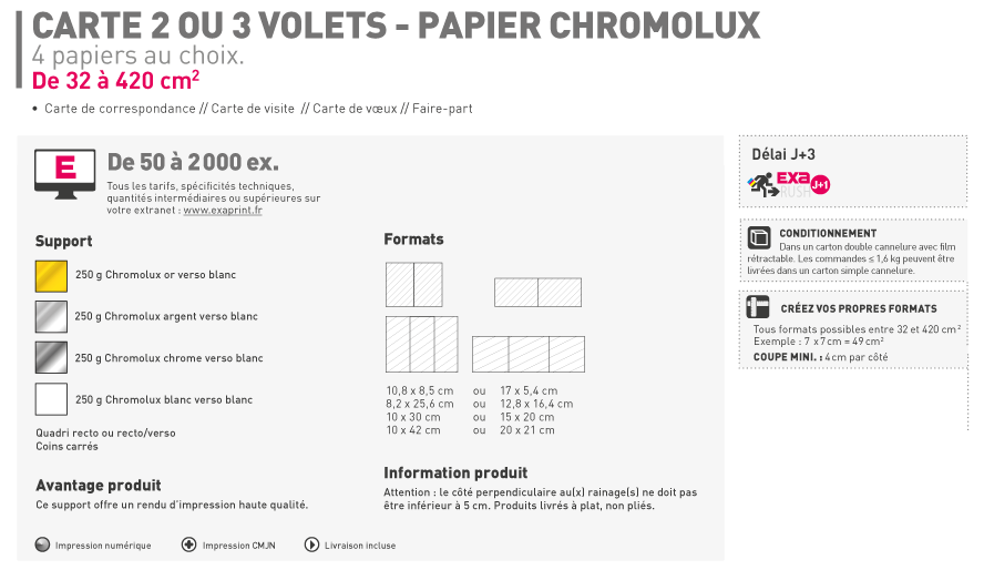 Impression Carte 2 Ou 3 Volets Papier Chromolux