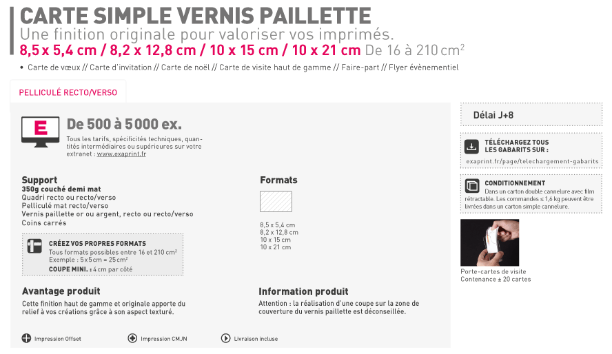 Carte Simple Et De Visite Finition Vernis Paillette