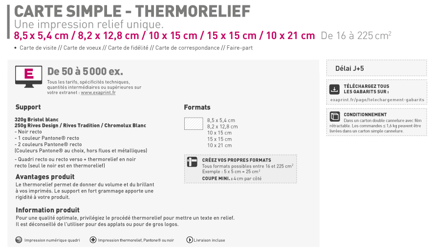 Impression Carte Simple Et De Visite Thermorelief