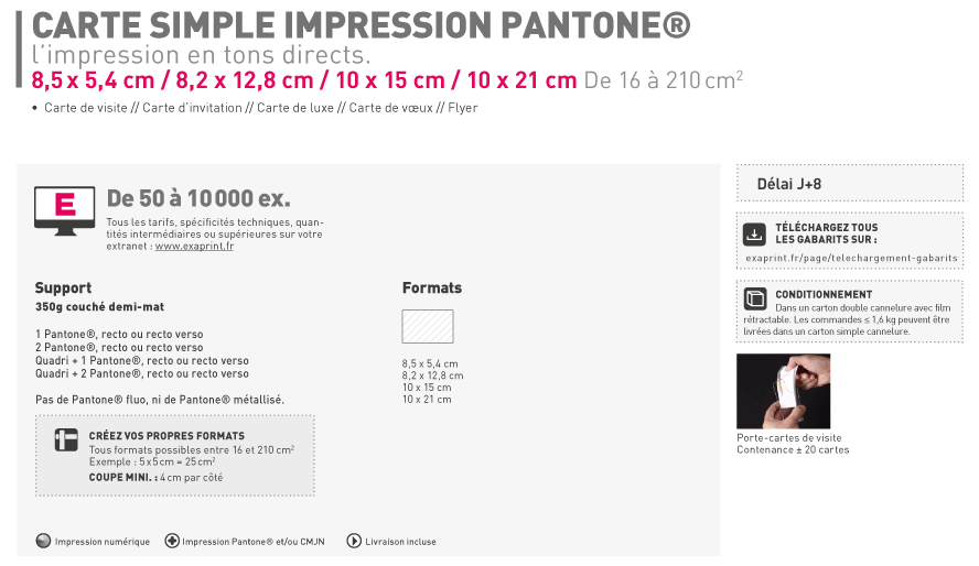 Carte Simple Et De Visite Impression Couleur PantoneR