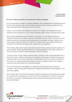 Press release December14