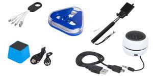 Technologie : clé USB, haut-parleur, écouteurs personnalisé