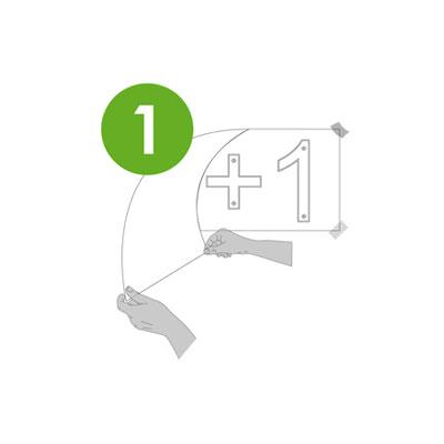 étape 1 pose logo végétal synthétique